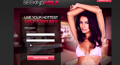SeekingMilf.com home page