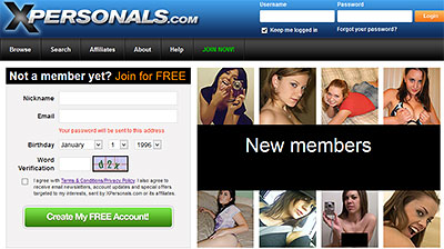 XPersonals.com home page