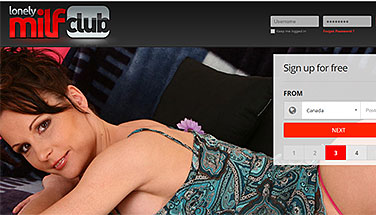 LonelyMilfClub.com homepage