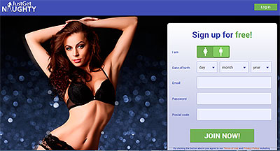 JustGetNaughty.com homepage