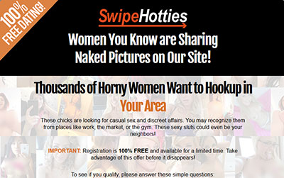 SwipeHotties.com home page