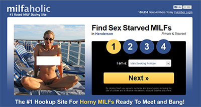 Milfaholic.com home page