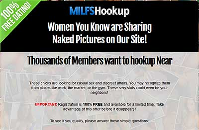 MilfsHookup.com home page