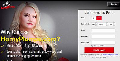 HornyPlumps.com homepage