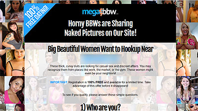 MegaBbw.com homepage