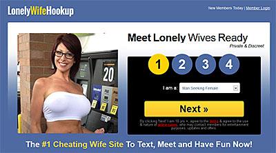 LonelyWifeHookup.com home page