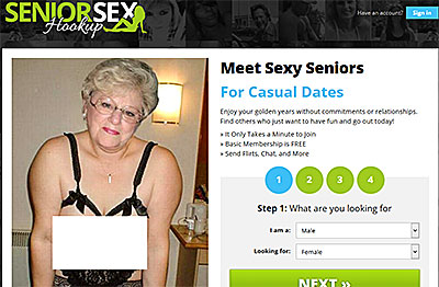 SeniorSexHookup.com home page