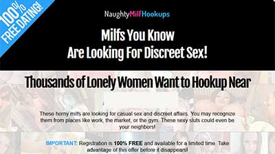 NaughtyMilfHookups.com home page