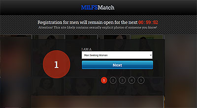 MilfsMatch.com homepage