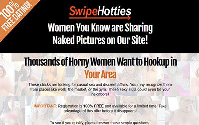 SwipeHotties.com home page